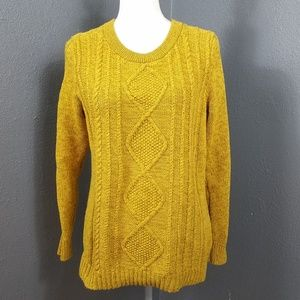 Old Navy XL Sweater Cableknit Women Mustard Yellow